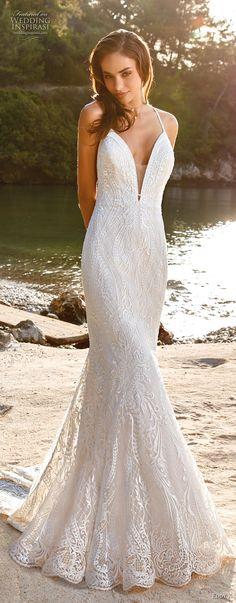 eddy k 2018 bridal thin strap deep plunging sweetheart neckline elegant romantic fit and flare wedding dress rasor back chapel train (12) mv -- Eddy K. Dreams 2019 Wedding Dresses