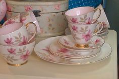 Old Royal 'Pink Floral' 1900-1940 (one cup has a hairline crack) bone china tea set with fabulous baby pink interior and gold edging. 6 cups & saucers, 6 tea plates, large cake plate, milk/cream jug & sugar bowl £40