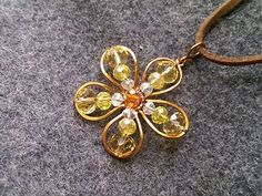 apricot flowers pendant - How to make wire jewelery 204 - YouTube