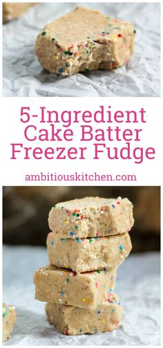 NO BAKE 5-INGREDIENT HEALTHY CAKE BATTER FUDGE - naturally sweetened, low carb, easy to make!