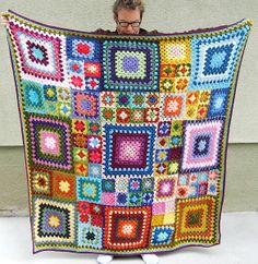 Colorful granny square blanket (no pattern) #crochet #granny_square #blanket