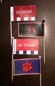 Cupcake flags I made last year, for the Clemson/Carolina game. Martha Stewart flag template and I made the design in Photoshop.