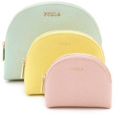 Furla Babylon 3 In 1 Cosmetic Case Set - Mint/Citron/Magnolia found on Polyvore