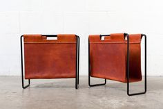 MID-CENTURY LEATHER AND METAL MAGAZINE RACK - Amsterdam Modern (cool store with great mcm finds)