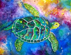 """This is a high quality acid-free print of my very popular painting, """"Honu"""". When I went ot Hawaii in June, I became enamored by the slowly surfing sea turtles, and HAD to paint one! Now you can own a little bit of Hawaii too!  This item is a 5x7, but I also have 8x10s ($25) and 11x14 ($35). Convo me for other sizes, thanks! Each print comes with a white mat and signed by the artist.  This item comes wrapped in a plastic sleeve and tissue paper or bubble wrap to prevent damage."""