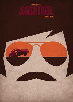 Sabotage - Beastie Boys / Directed by Spike Jonze Minimal Music Video Posters by Federico Mancosu Beastie Boys, Minimalist Music, Minimalist Poster, Minimalist Design, Rock Posters, Band Posters, Film Posters, Design Graphique, Art Graphique