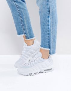 Buy Nike Air Max 95 Essential Trainers In White at ASOS. With free delivery and return options (Ts&Cs apply), online shopping has never been so easy. Get the latest trends with ASOS now. Nike Air Max, Nike Swoosh Logo, Asos, Latest Shoes, Stunning Women, White Nikes, Lace Up Shoes, Fashion Boots, Fashion Online