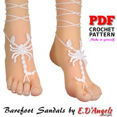 Crochet PATTERN. Barefoot Sandals SCORPION. This listing is for a PDF digital file PATTERN only. This is NOT a FINISHED item. If you are interested in a finished item of this pattern you can make a custom order or visit the shop section Finished Items: https://www.etsy.com/shop/LassCrochet?section_id=13338578&ref=shopsection_leftnav_4 You can make it to wear at the beach, at the pool, at home, at weddings, at festivals or at yoga classes. The PDF digital ...