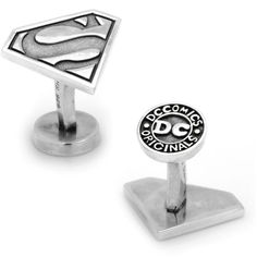 Cufflinks Inc. Sterling Silver Superman Cuff Links ($230) ❤ liked on Polyvore featuring men's fashion, men's accessories, cuff links, earrings, jewelry and sterling silver cuff links