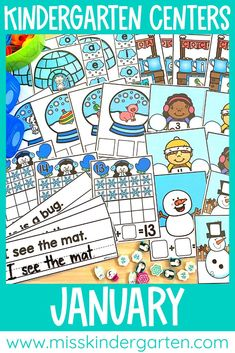 Use these January centers for math or literacy in your kindergarten classroom. Students will love the snowmen and snowflakes while they practice reading, writing and teen numbers. There is also some simple addition. Everything is easy to print and laminte. Miss Kindergarten, Kindergarten Math Activities, Math Literacy, Literacy Skills, Kindergarten Classroom, Literacy Centers, Classroom Ideas, Teen Numbers, Simple Addition
