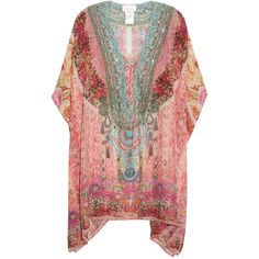 Camilla Belleza Flor-print lace-up silk kaftan ($499) ❤ liked on Polyvore featuring tops, tunics, pink multi, plunge-neck tops, print tunic, plunging neckline tops, kaftan tunic and embellished tunic