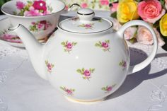 Ditsy Pink Roses pattern gold gilded china small teapot