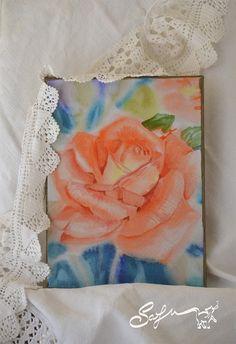 Carta digitale-acquerello di rosa digitale-rosa di SafuArt su Etsy
