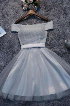 Customized Nice Grey Homecoming Dress Off Shoulder Grey Tulle Cheap Short Prom Dresses Homecoming Dresses Dama Dresses, A Line Prom Dresses, Sexy Dresses, Dress Outfits, Grey Homecoming Dresses, Ivory Prom Dresses, 1950s Dresses, Prom Gowns, Sleeve Dresses