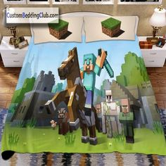 If you love this game, you should have a Minecraft bed set at home! Visit our website to see all our Minecraft bedding designs! Minecraft Bedding, Minecraft Horse, Horse Bedding, Quilt Cover, Bed Design, Bed Sheets, Bedding Sets, Duvet Covers, Bedroom Ideas