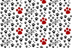 Paw Prints  LG - red black-personalized fabric by drapestudio on Spoonflower - custom fabric