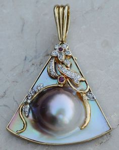 ESTATE 14K YELLOW GOLD MABE BLISTER PEARL ENHANCER PENDANT-DIAMOND & RUBY-585 #Pendant