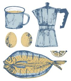 coffee + kippers - Lucy Panes Illustration