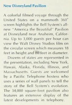 New Disneyland Pavilion - America the Beautiful (Bell telephone magazine, November/December 1967, p.36)