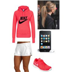 Nike Running Gear by volleyball-liberro on Polyvore featuring NIKE and nike sports exercise shorts athletic workout pink sneakers