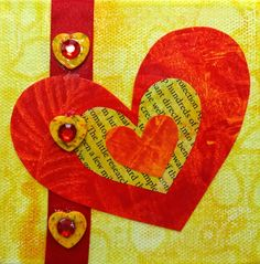 By Win Dinn Art - a Valentine-themed series, with Gelli-printed hearts on a 4 x 4 canvas
