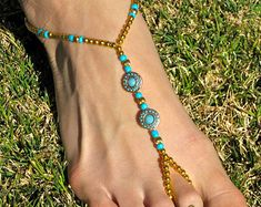 Silver and Multicolored Barefoot Sandals slave by HouseOfBlaise