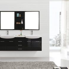 Roma 1800 - Bathroom Furniture Cabinet is contemporary wall hung vanity made with moisture resistant MDF board cabinet are titanium painted with two ceramic basins, four soft closing doors and three soft closing drawers by Nova Deko Cabinet Furniture, Bathroom Furniture, Wall Mounted Vanity, Modern Vanity, Double Vanity, Drawers, Flooring, Traditional, Contemporary