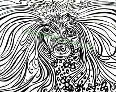 Chinese Crested Dog by MattCervenkaArt on Etsy, $30.00