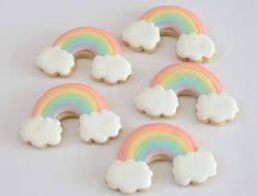 Pastel rainbow cookies for a unicorn party. Rainbow Unicorn Party, Rainbow Birthday Party, Unicorn Birthday Parties, 4th Birthday, Birthday Ideas, Iced Cookies, Royal Icing Cookies, Sweet Cookies, Heart Cookies
