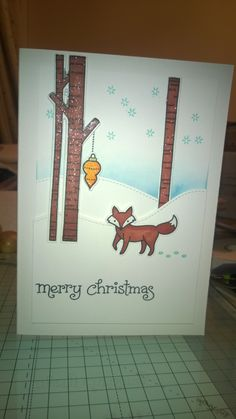 Fox Scene Christmas Card. Lawn Fawn stamps and die set. Promarkers and distress ink.
