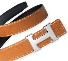 Belt kit 32 mm 32 mm reversible leather strap in Black/Gold, Box/Togo calfskin & Buckle in palladium-finish silver-coloured metal