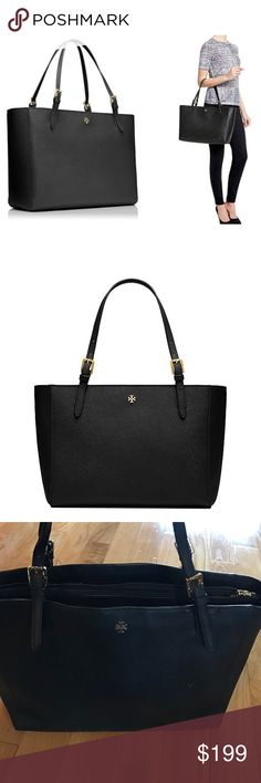 Tory Burch Black Buckle York Tote Saffinano Tory Burch York Buckle Tote styled in black saffiano leather, with an interior padded zip compartment at center and two interior open pockets. Drop: 9 inches. Height: 11 inches. Length: 15 inches. Depth: 6 inches. Has some wear, mostly on handles and dirt on outside. Tory Burch Bags Totes