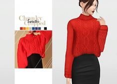 Chunky Cropped Sweater by Waekey for The Sims 4