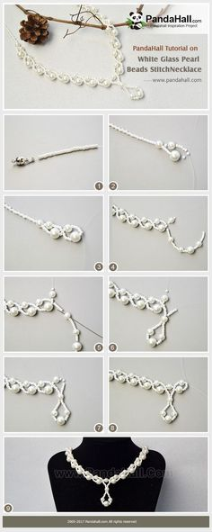 White Glass Pearl Beads Stitch Necklace Do you need a necklace that you can wear in any occasion? Then you need have a look at today's tutorial about how to make a glass pearl beads stitch necklace. #pandahall #diy #freetutorial #beadednecklace #bridalnecklace #pearljewelry