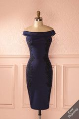 Avery - Navy blue and black beaded fitted midi dress