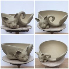 Passionfyrecrafts earthwoolfire white earthenware custom cat yarn bowl custom orders via earthwoolfire etsy com oh that's beautiful o Ceramic Clay, Ceramic Bowls, Ceramic Pottery, Pottery Art, Slab Pottery, Thrown Pottery, Pottery Studio, Hand Built Pottery, Pottery Bowls