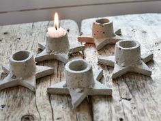 beton - cement - ster -  kaars - concrete - stars - candlelight