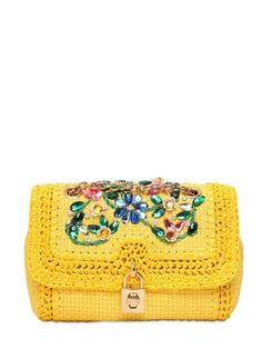 DOLCE & GABBANA, SMALL SLIM EMBELLISHED RAFFIA BAG