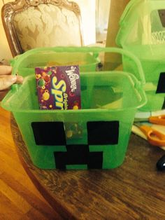 Mine craft party favor buckets from dollar tree
