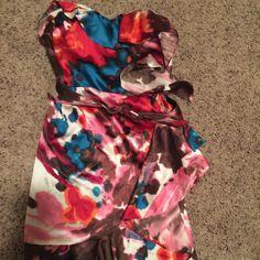 Express dress Only wore once! Super cute silk dress with belt. Express Dresses