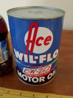 ACE WIL-FLO 5W-20 HD empty grease metal oil can petroleum gas collectibl auto   | eBay