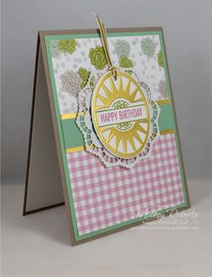 """Blog Post Date: January 17, 2017. A card designed for the Stampin' Addicts Occasions Catalog Blog Hop featuring the That's the Tag stamp set with the coordinating Timeless Tags Thinlits. Other elements of this card include: Succulent Garden Designer Series Paper, Lace Doilies, Gold Foil Sheets, Gold 1/8"""" ribbon, and the colors of Tip Top Taupe, Sweet Sugarplum, Old Olive, and Mint Macaron."""