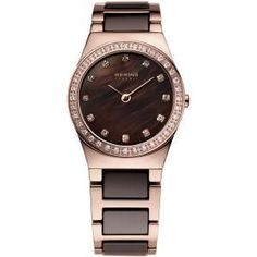 Ladies Chocolate and Rose Tone Bering Watch