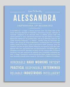 Alessandra | Classic Name Print – Name Stories Girl Names, Baby Names, Customer Stories, Classic Names, Descriptive Words, Thing 1, Name Art, Names With Meaning, New Names