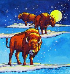 "Buffalo Skies by Beverly Caputo Watercolor ~ 8.5"" x 8"""