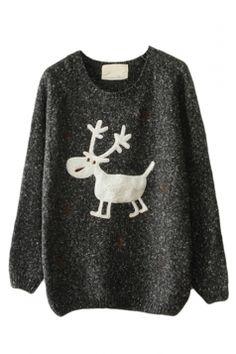 #Black #Womens #Reindeer #Snowflake #Jumper Ugly Christmas #Sweater