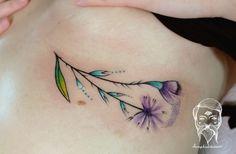 Floral tattoo by Lucy Hudecova, Bumpkin Tattoo