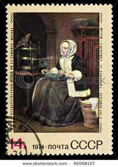 """Russia – Circa Stamp Printed In Russia, Shows Drawing Of Artist Gabriel Metsu """"Women At Work"""", Russia, Circa 1974 Gabriel Metsu, Going Postal, Postage Stamp Art, Envelope Art, Stamp Printing, Russian Folk, Mail Art, Stamp Collecting, Blue Moon"""