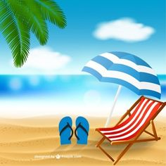 Beach with a deck chair Free Vector Pics Art, Art Pictures, Strand Clipart, Beach Cartoon, Beach Clipart, Beach Illustration, Summer Banner, Holiday Icon, Vintage Tiki