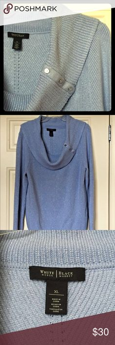 """Light Blue Metallic Long Sleeve Sweater Excellent, like new condition! Comfortable & classy long sleeve wide cowl neck sweater, with crystal & silver rhinestone buttons on collar! Material: 33% Nylon, 33% Viscose, 27% Polyester, 4% Wool, 3% other fiber. Sweater length: about 24"""" long from back of collar, sleeve length about 26.5"""" long, Bust (un-stretched): About 19.5"""" flat or 39"""" full. Great for a party or the holidays! White House Black Market Sweaters Cowl & Turtlenecks"""